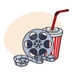 Cinema attributes film reel and soda water in vector