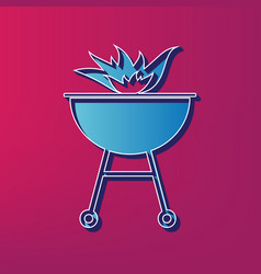 Barbecue with fire sign  blue 3d printed vector