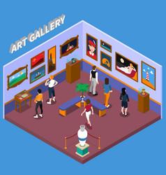 art gallery isometric vector image