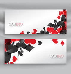 Casino banners with playing cards symbols vector
