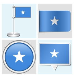 Somalia flag - sticker button label flagstaff vector