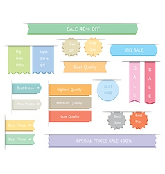 Ribbons label stickers vector