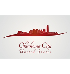 Oklahoma city skyline in red vector