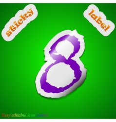 Number eight icon sign symbol chic colored sticky vector