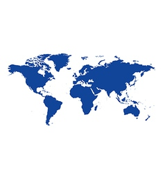 Dark blue map of the world - continents vector