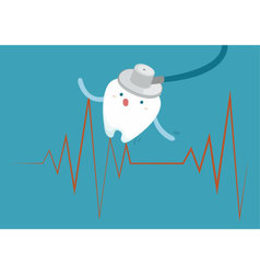 Tooth with heartbeat vector