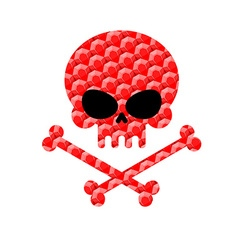 Skull with bones from rubies jewelry symbol of vector
