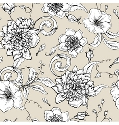 Monochrome seamless pattern with blooming peony vector