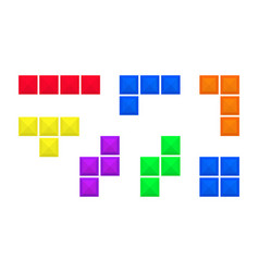 Abstract old video game bricks pieces isolated on vector