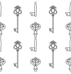 black and white seamless pattern with vintage keys vector image vector image
