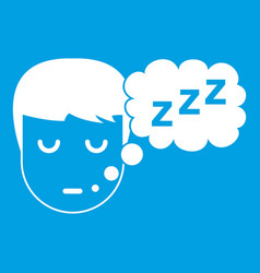 Boy head with speech bubble icon white vector