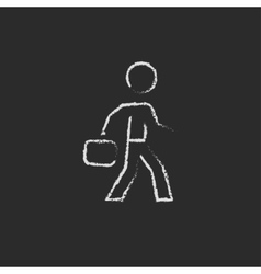 Businessman walking with briefcase icon drawn in vector