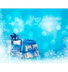 christmas blue background snowflake with gift vector image