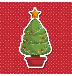 christmas tree character kawaii style vector image vector image