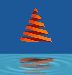 Christmas tree made with red ribbons levitate over vector