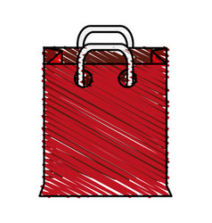 Color crayon stripe cartoon red bag for shopping vector