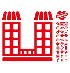Company icon with love bonus vector