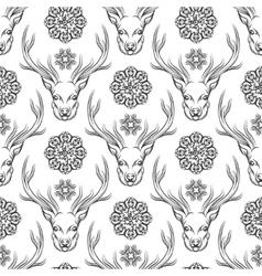 Deer head and flowers seamless pattern vector
