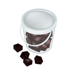 Delicious black grass jelly in a bucket vector