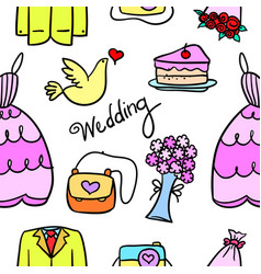 Doodle of wedding element colorful style vector