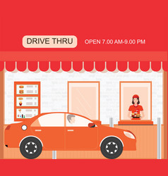 drive thru fast food restaurant on a brick vector image vector image