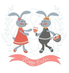 Easter card with cute bunnies couple vector image vector image