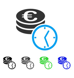 Euro coins and time flat icon vector