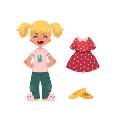 Flat girl kid and outfit apparel set vector