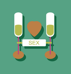 Flat icon design sex and cocktails in sticker vector