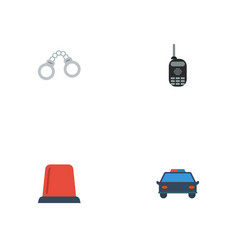 Flat icons walkie-talkie signal manacles and vector