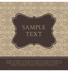 Frame on Damask Retro Background vector image vector image