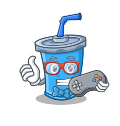 Gamer soda drink character cartoon vector