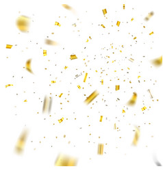 Gold confetti explosion isolated background vector