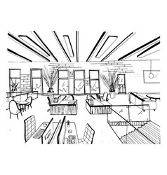 Hand drawn coworking cluster modern office vector