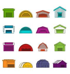 Hangar icons doodle set vector
