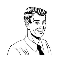 happy man comic style black and white vector image