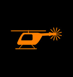 Helicopter sign orange icon on black vector