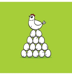 hen on eggs vector image vector image