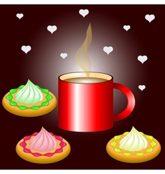 Hot cup of coffee with delicious cookies vector