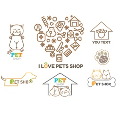 Logo design template for pet shops set bad vector