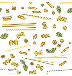 Pasta and basil seamless pattern vector