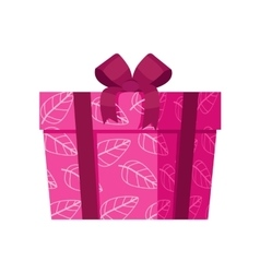 Pink gift box with white leaves isolated vector