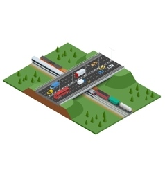 Railroad and bridge with traffic transport car vector