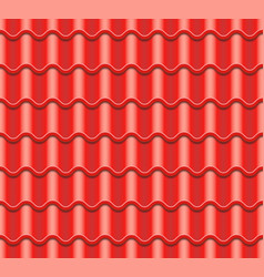 Red corrugated tile element of roof vector