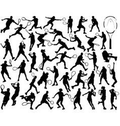 silhouettes of tennis players vector image vector image