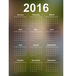Simple calendar 2016 year vector