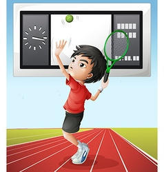 Tennis player and score board vector
