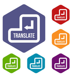 translate button icons set vector image vector image