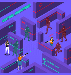 Virtual gun battles isometric vector