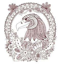 Zen tangle eagle round frame vector